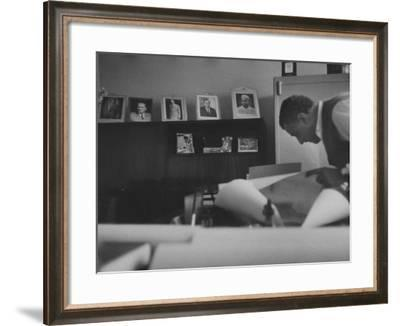 President Gamal Abdul Nasser at His Home Just after Port Said Invasion--Framed Photographic Print