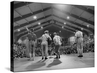 Cast Members Entertaining on the Stage of the Grand Ole Opry-Yale Joel-Stretched Canvas Print