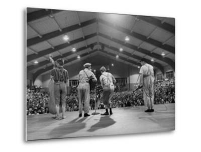 Cast Members Entertaining on the Stage of the Grand Ole Opry-Yale Joel-Metal Print