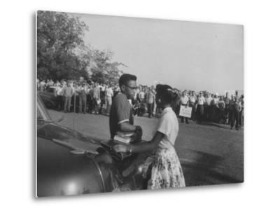 Two African American Students Attempting to Attend Classes at Texarcana College--Metal Print