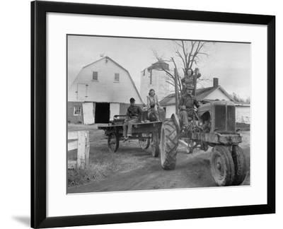 Exiled Premier of Hungary, Ferenc Nagy and His Family Working on Farm--Framed Photographic Print