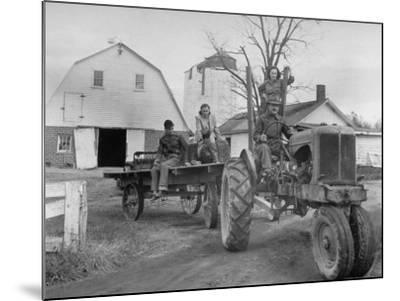 Exiled Premier of Hungary, Ferenc Nagy and His Family Working on Farm--Mounted Photographic Print