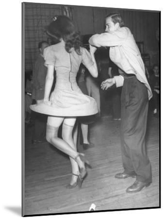 An Aircraft Worker Dancing with His Date at the Lockheed Swing Shift Dance-Peter Stackpole-Mounted Photographic Print