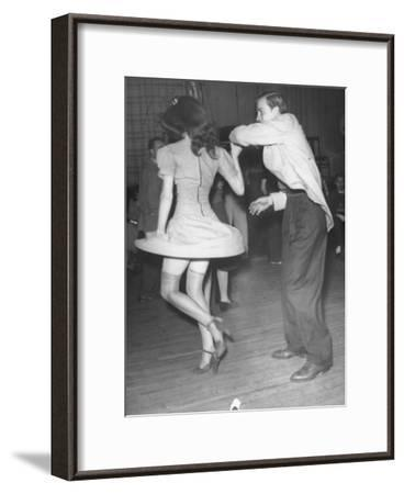 An Aircraft Worker Dancing with His Date at the Lockheed Swing Shift Dance-Peter Stackpole-Framed Photographic Print