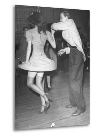 An Aircraft Worker Dancing with His Date at the Lockheed Swing Shift Dance-Peter Stackpole-Metal Print