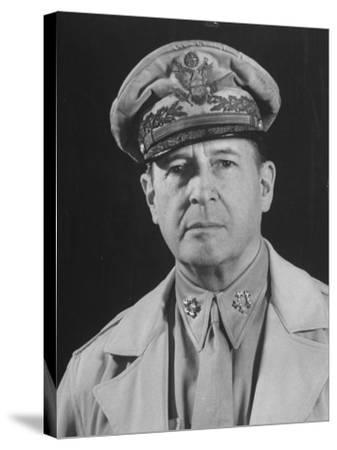 Gen. Douglas Macarthur Posing in a Serious Manner for His Portrait--Stretched Canvas Print