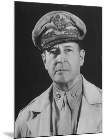 Gen. Douglas Macarthur Posing in a Serious Manner for His Portrait--Mounted Photographic Print