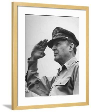General Douglas Macarthur Saluting During the July 4 Allied Military Government Parade--Framed Photographic Print