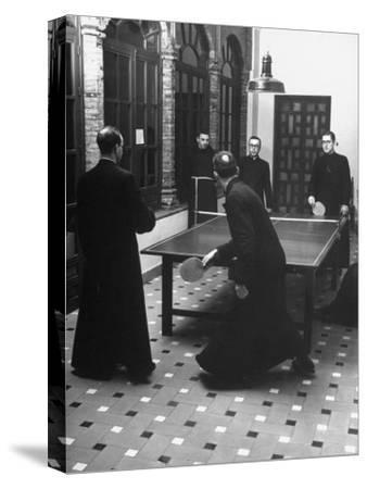 Priests Playing Ping-Pong at Social School-Dmitri Kessel-Stretched Canvas Print