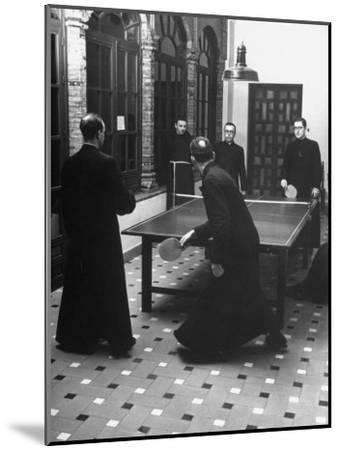 Priests Playing Ping-Pong at Social School-Dmitri Kessel-Mounted Photographic Print