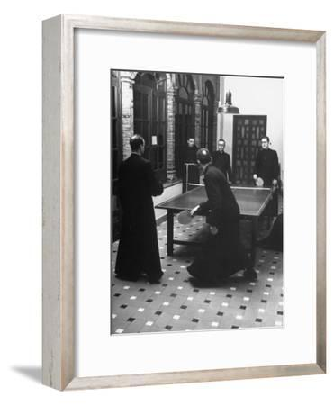 Priests Playing Ping-Pong at Social School-Dmitri Kessel-Framed Photographic Print