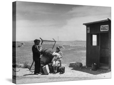 Immigrants Waiting for the Bus on Tel-Aviv Hafa--Stretched Canvas Print