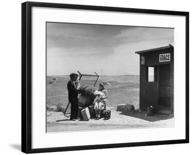 Immigrants Waiting for the Bus on Tel-Aviv Hafa--Framed Photographic Print