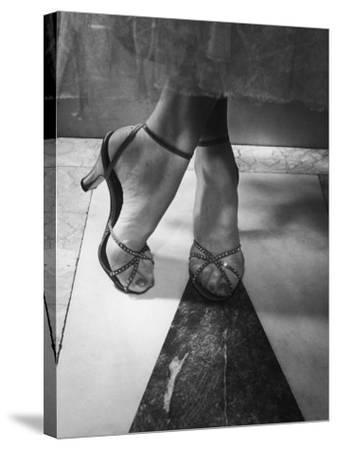 Woman Wearing Popular Style of Jeweled Evening Sandals-Nina Leen-Stretched Canvas Print