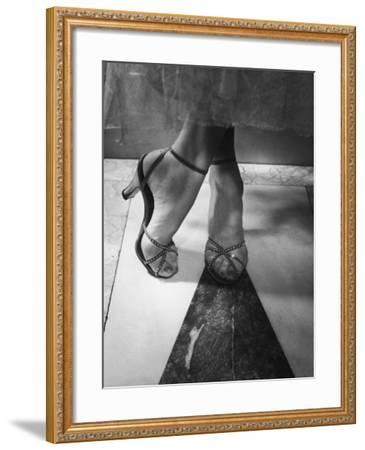 Woman Wearing Popular Style of Jeweled Evening Sandals-Nina Leen-Framed Photographic Print