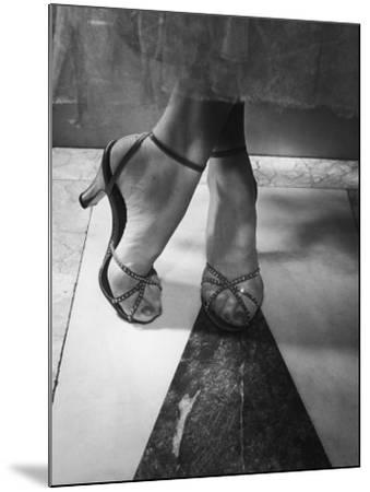 Woman Wearing Popular Style of Jeweled Evening Sandals-Nina Leen-Mounted Photographic Print