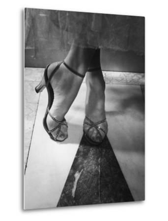 Woman Wearing Popular Style of Jeweled Evening Sandals-Nina Leen-Metal Print