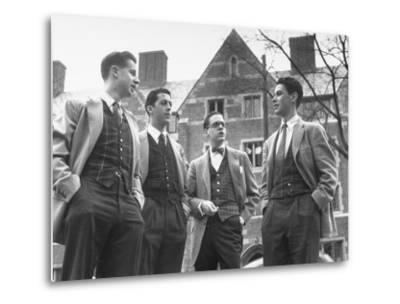 Tartan Vests Worn with Sports Jackets are Favored by These Yale Undergraduates--Metal Print