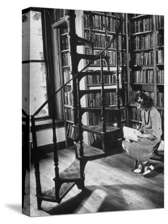 High School Girl Reading at the Newburyport Free Library-Alfred Eisenstaedt-Stretched Canvas Print