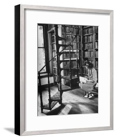 High School Girl Reading at the Newburyport Free Library-Alfred Eisenstaedt-Framed Photographic Print