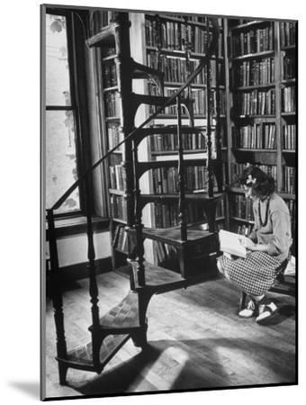 High School Girl Reading at the Newburyport Free Library-Alfred Eisenstaedt-Mounted Photographic Print