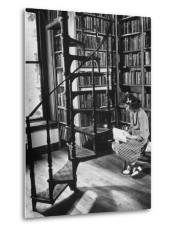 High School Girl Reading at the Newburyport Free Library-Alfred Eisenstaedt-Metal Print
