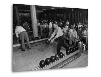 People Bowling at the Mcculloch Motors Recreation Building-J^ R^ Eyerman-Metal Print