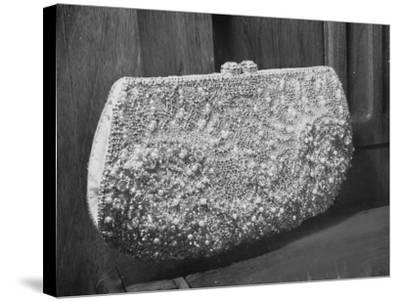 First Lady Mrs. Dwight D. Eisenhower's Inaugural Jeweled Purse Encrusted with 3,456 Pink Pearls-Nina Leen-Stretched Canvas Print