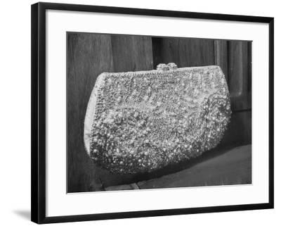 First Lady Mrs. Dwight D. Eisenhower's Inaugural Jeweled Purse Encrusted with 3,456 Pink Pearls-Nina Leen-Framed Photographic Print