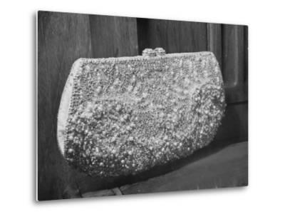 First Lady Mrs. Dwight D. Eisenhower's Inaugural Jeweled Purse Encrusted with 3,456 Pink Pearls-Nina Leen-Metal Print