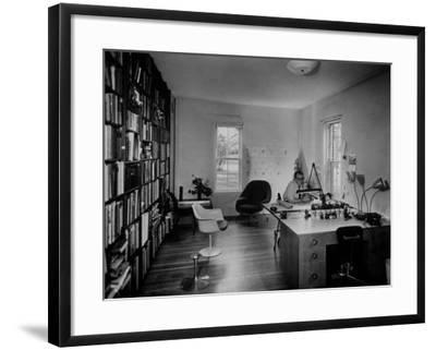 Architect Eero Saarinen Sitting in His Studio at Home--Framed Photographic Print
