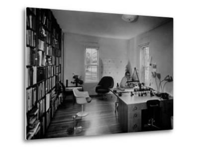 Architect Eero Saarinen Sitting in His Studio at Home--Metal Print
