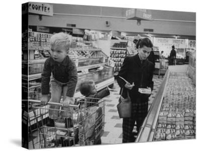 Working Mother Jennie Magill Shopping with Her Children at the Super Market--Stretched Canvas Print
