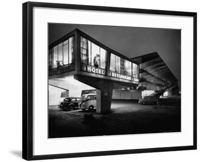New Motel, Restaurant and Glass and Steel Garage-Ralph Crane-Framed Photographic Print