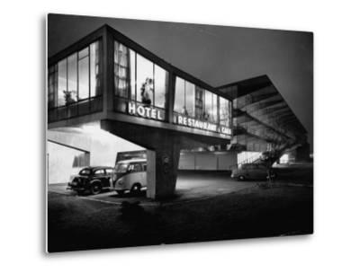 New Motel, Restaurant and Glass and Steel Garage-Ralph Crane-Metal Print