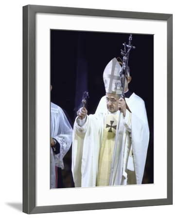 Pope Paul Vi Giving Mass and Sermon of Peace at Yankee Stadium During Historic Visit--Framed Premium Photographic Print