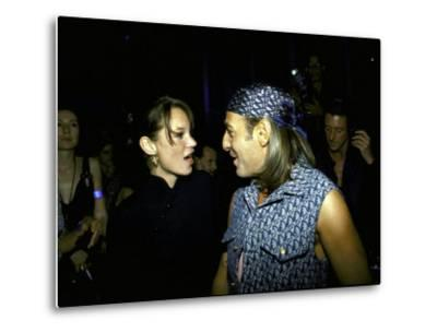 Model Kate Moss and Designer John Galliano at Galliano's Opening of Christian Dior Boutique-Marion Curtis-Metal Print