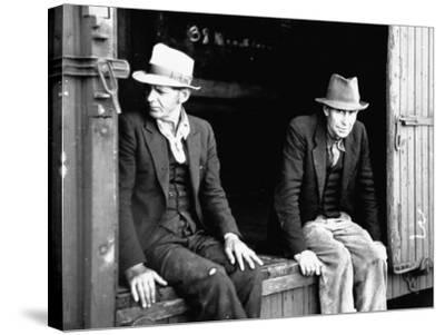 Vagrants Sitting in Boxcar--Stretched Canvas Print