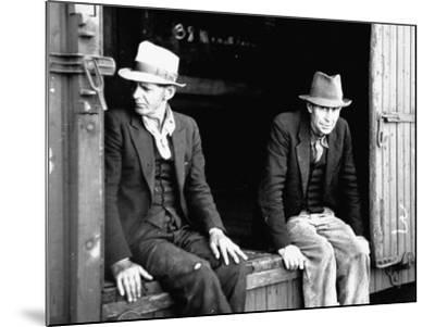 Vagrants Sitting in Boxcar--Mounted Photographic Print