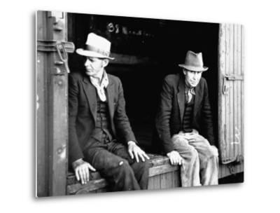 Vagrants Sitting in Boxcar--Metal Print