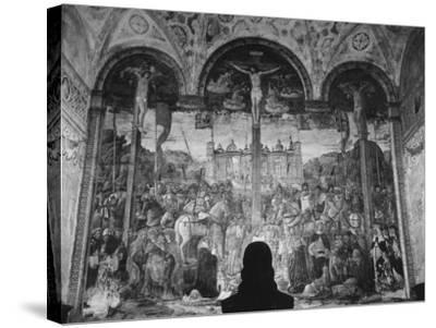 Woman in a Church Contemplating a Wall Painting of the Crucifixion-Carl Mydans-Stretched Canvas Print