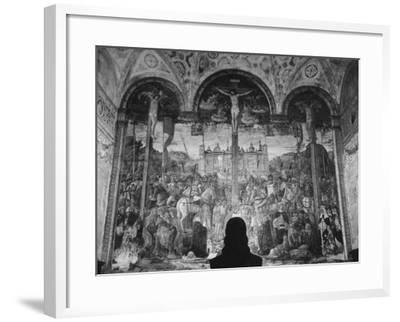 Woman in a Church Contemplating a Wall Painting of the Crucifixion-Carl Mydans-Framed Photographic Print