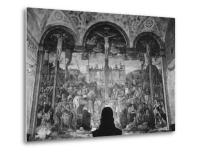 Woman in a Church Contemplating a Wall Painting of the Crucifixion-Carl Mydans-Metal Print