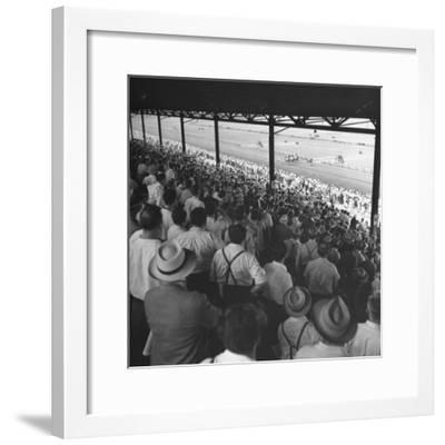 People Watching Horse Racing--Framed Photographic Print