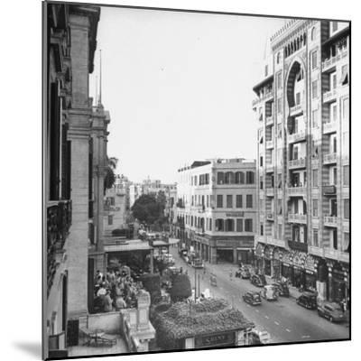 City Street from Room at Shepherd's Hotel-Bob Landry-Mounted Photographic Print