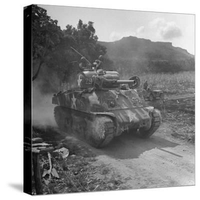 M4 Sherman Tank in Action During the Us Invasion of Saipan-Peter Stackpole-Stretched Canvas Print