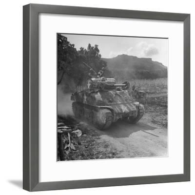 M4 Sherman Tank in Action During the Us Invasion of Saipan-Peter Stackpole-Framed Photographic Print