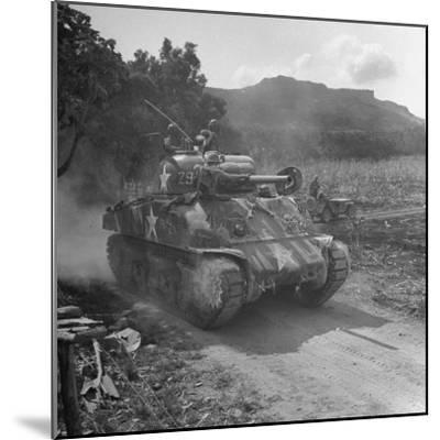 M4 Sherman Tank in Action During the Us Invasion of Saipan-Peter Stackpole-Mounted Photographic Print