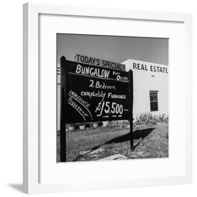 Close-Up of Real Estate Sign-Ed Clark-Framed Photographic Print