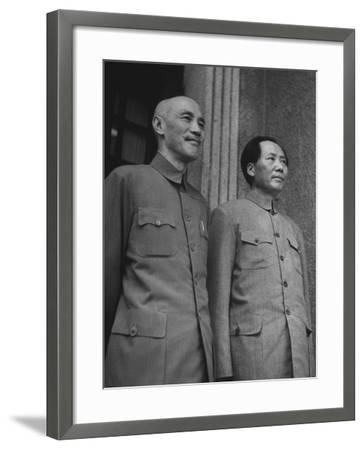 Chinese General Chiang Kai Shek Standing Side by Side W. Communist Ldr. Mao Tse Tung--Framed Photographic Print